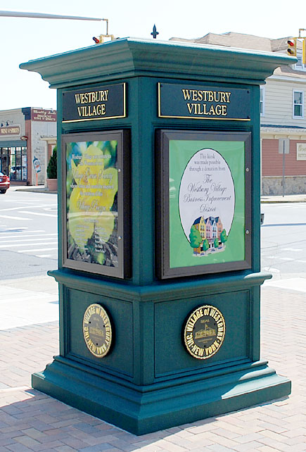 Town pillar, downtown Westbury Village, NY